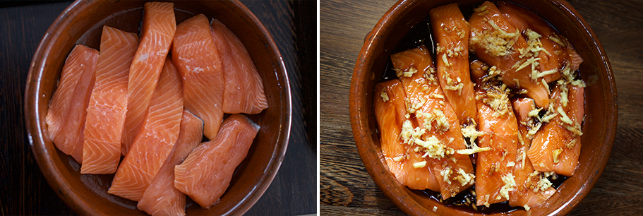 Salmon before after