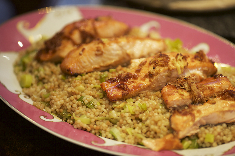 salmon on couscous 2 small