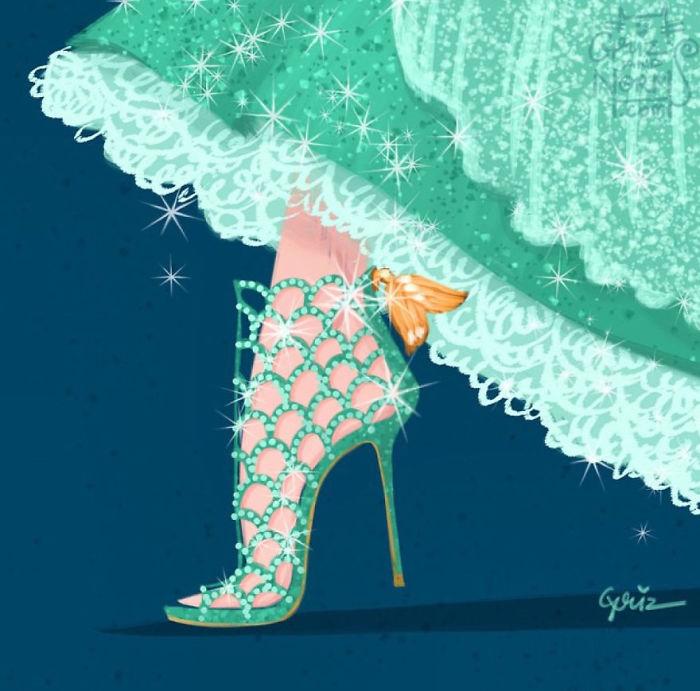 Ariel Sergio Rossi Shoe Griz and Norm Illustration