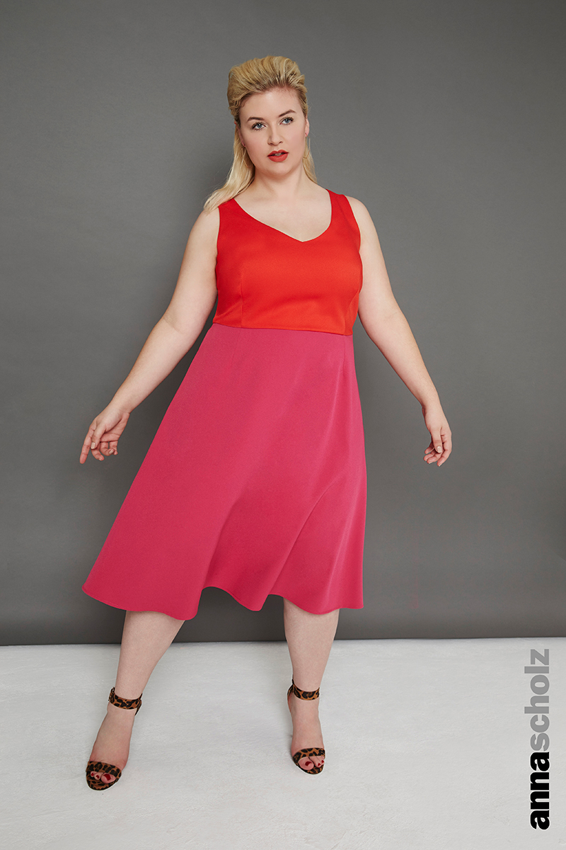 Plus Size Crepe Tailoring V Neck Swing Dress Orange And Pink