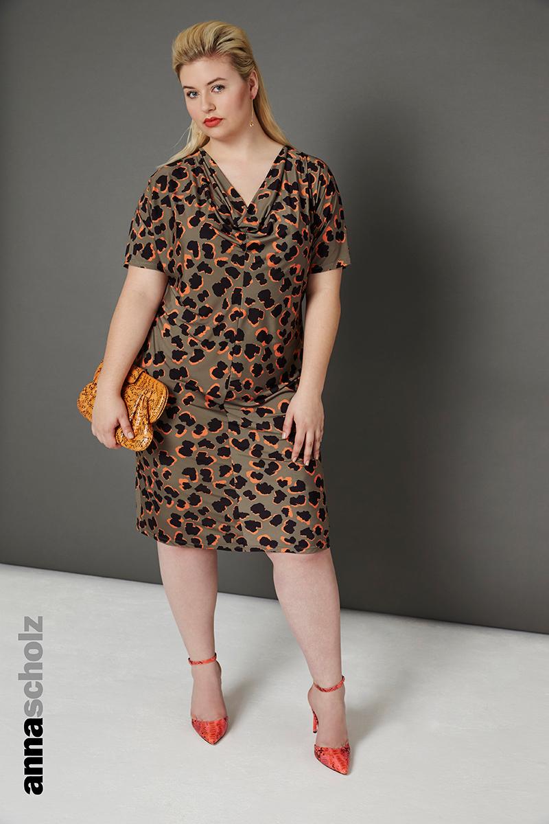Plus size Digital Jersey Cowl Neck Dress In Cartoon Leopard Print