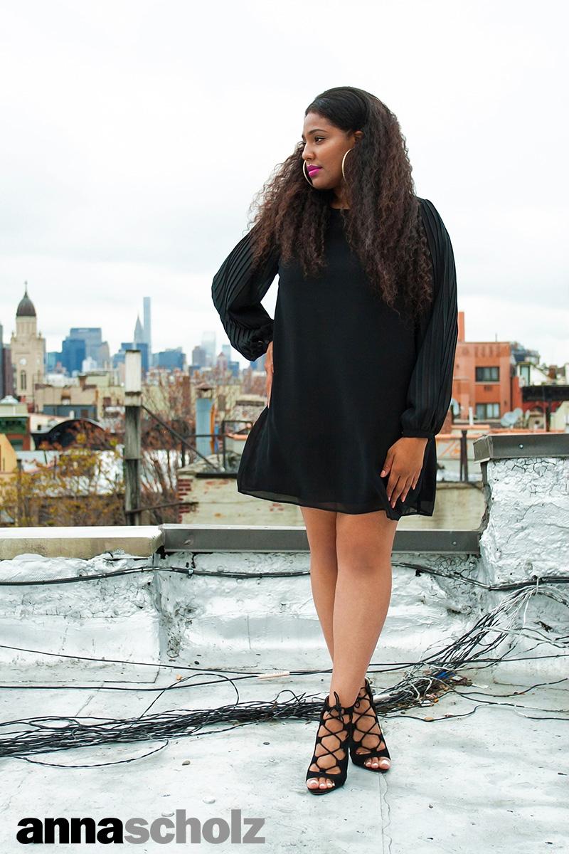 Anna Scholz Plus Size Black Georgette Pleat Sleeve Tunic