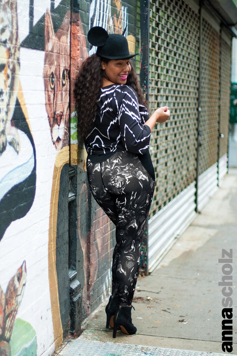 Anna Scholz Plus Size Panther Print Marble Fitness Leggings
