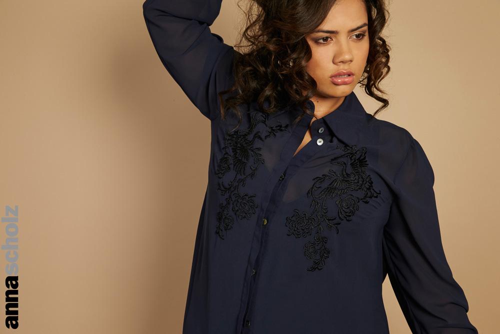 Anna Scholz Georgette Hand Embroidered Shirt Dress Navy