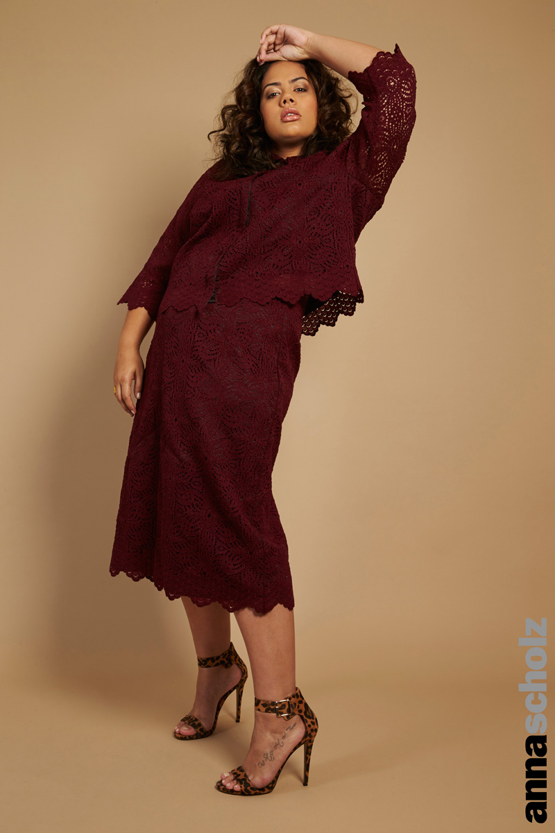 Anna Scholz Scallop Lace Skirt And Shirt Wine