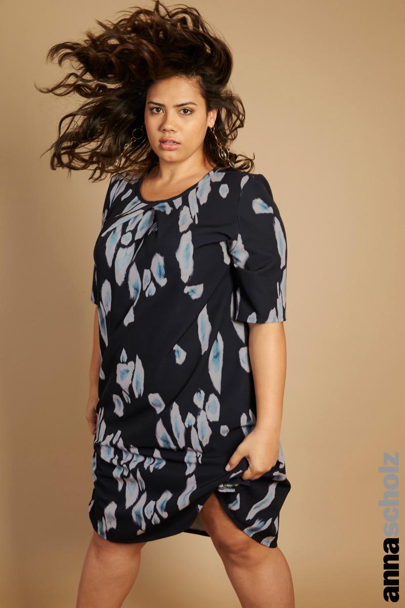 Anna Scholz Leopard Print Neoprene Neck Pleat Dress