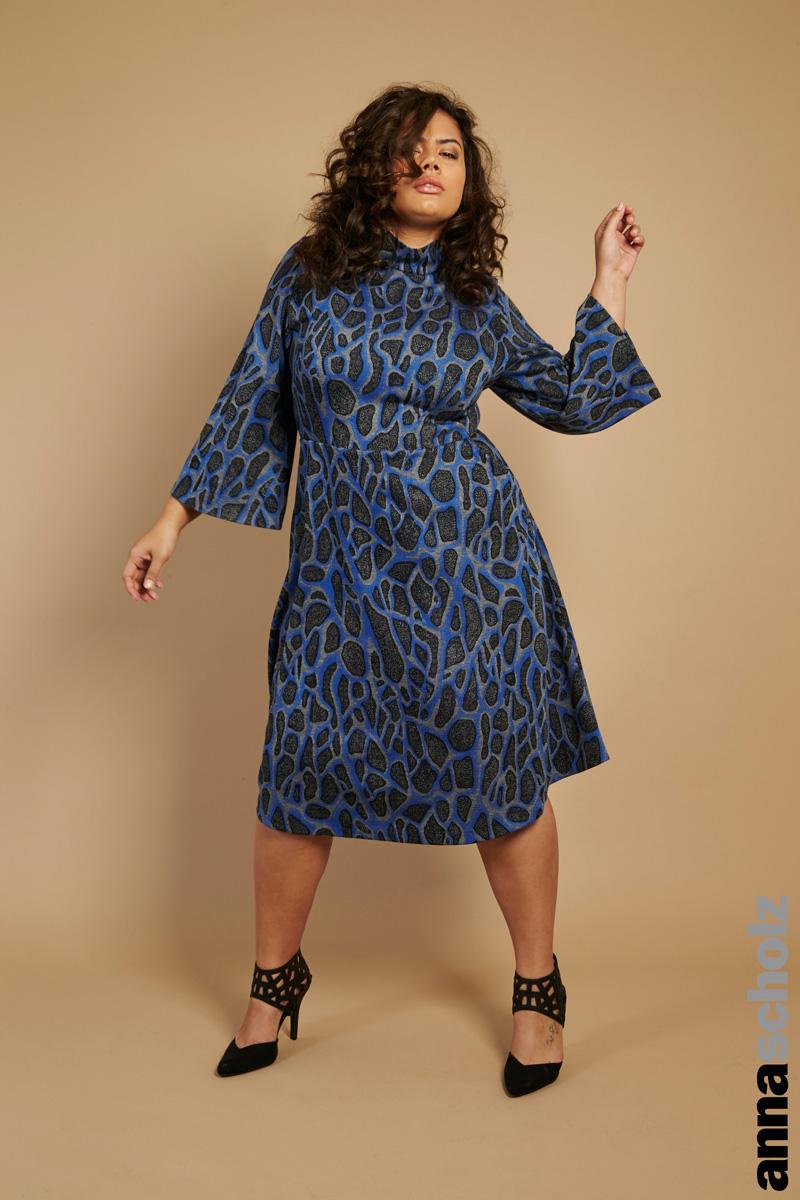 Anna Scholz Frosty Jacquard Jersey Roll Neck Swing Dress