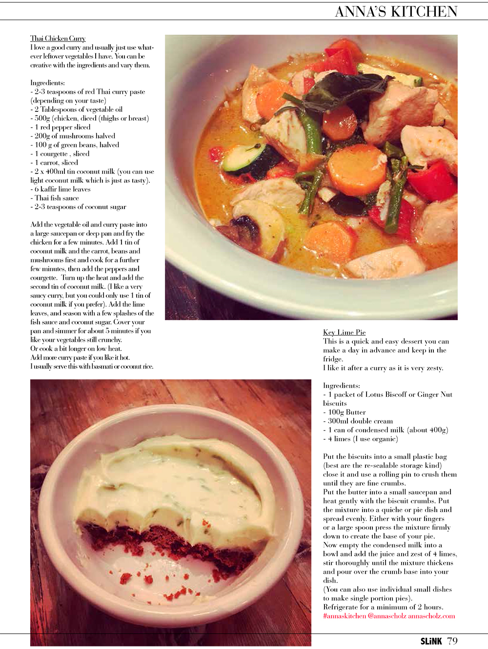 Anna Scholz Anna's Kitchen Recipes for Slink Magazine