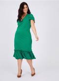 CREPE FRILL WRAP DRESS