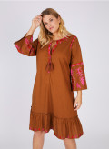 LINEN EMBROIDERED TUNIC DRESS