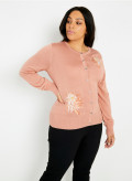 Round Neck Cardigan with Flower Embroidery