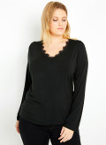 Jersey Lace Trim T-Shirt with Long Sleeves