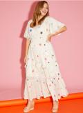 Metallic Georgette Short Sleeve Boho Dress