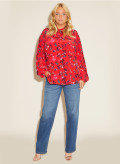 Silk Crepe de Chine Plus Size Tie Neck Top Red Floral Print