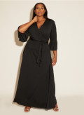Crepe Jersey Maxi Wrap Dress Frill Sleeve