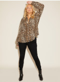 Plus Size Leopard Print Silk Shirt