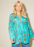 Silk Oversize Kaftan with Piping