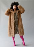 Fake Fur Coat with Collar
