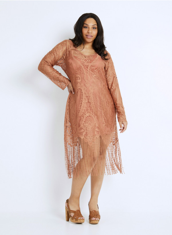 LACE FRINGE TUNIC DRESS