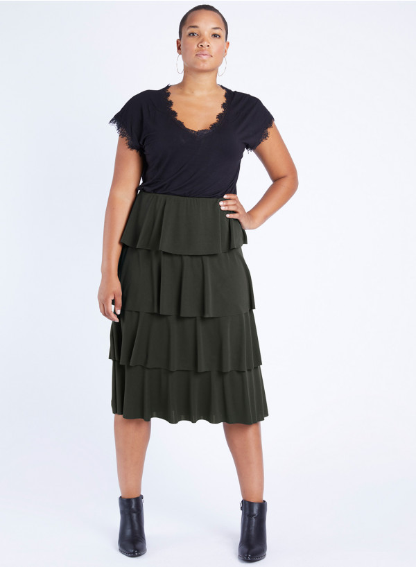 Crepe Jersey Tiered Frill Skirt