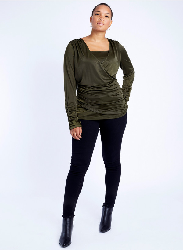 Jersey Sash V-Neck Top