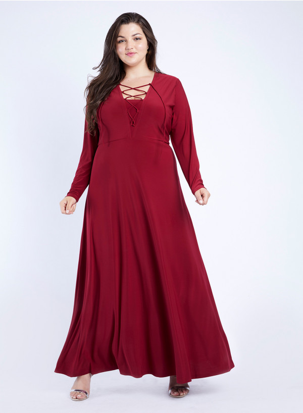 Jersey Lace-Up Maxi Dress