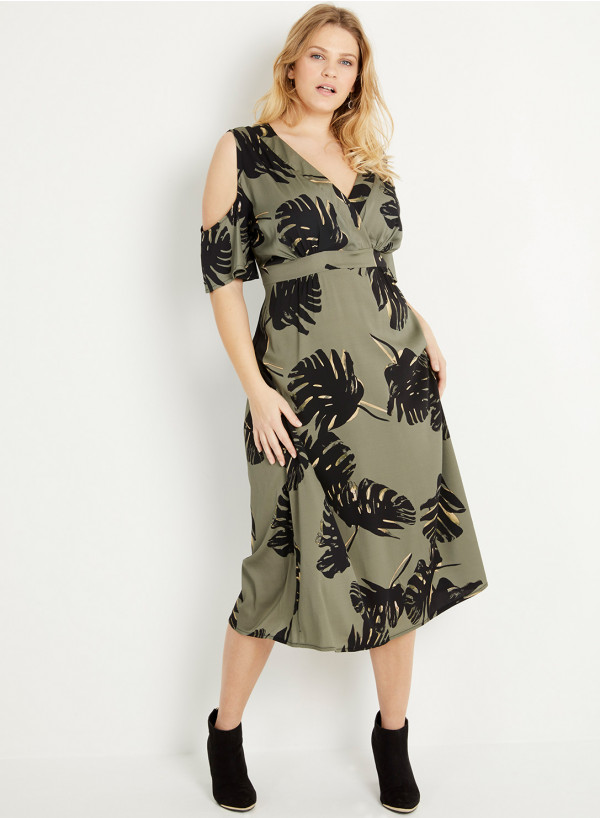 Double Silk Cutout Midi Dress