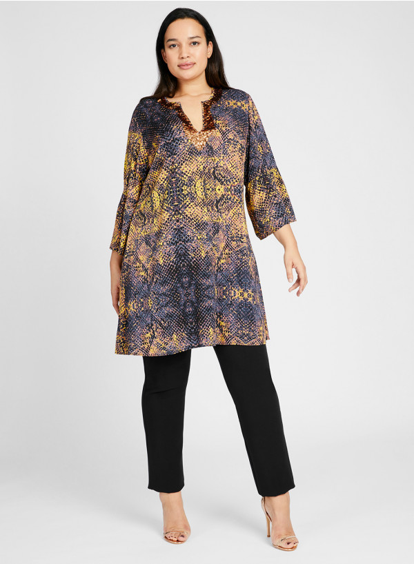 Double Silk Sequin Tunic Dress