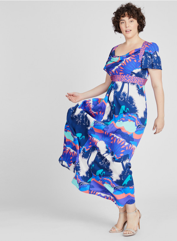 Double Silk Maxi Cowl Dress