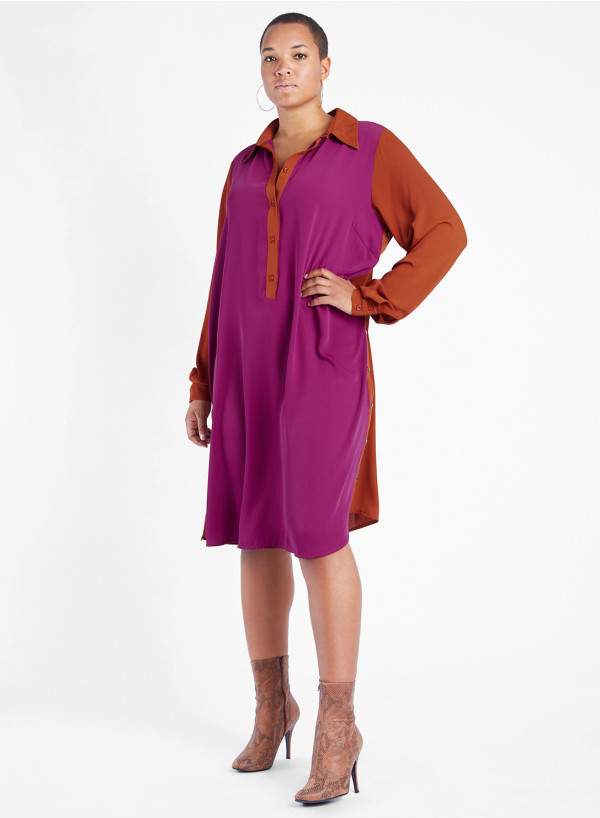 Side Button Shirt Dress