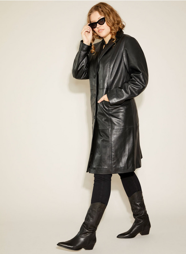 Leather Boyfriend Coat