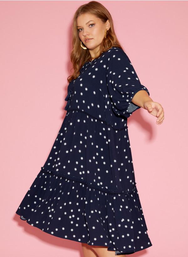Viscose Trim Loose Tunic Dress