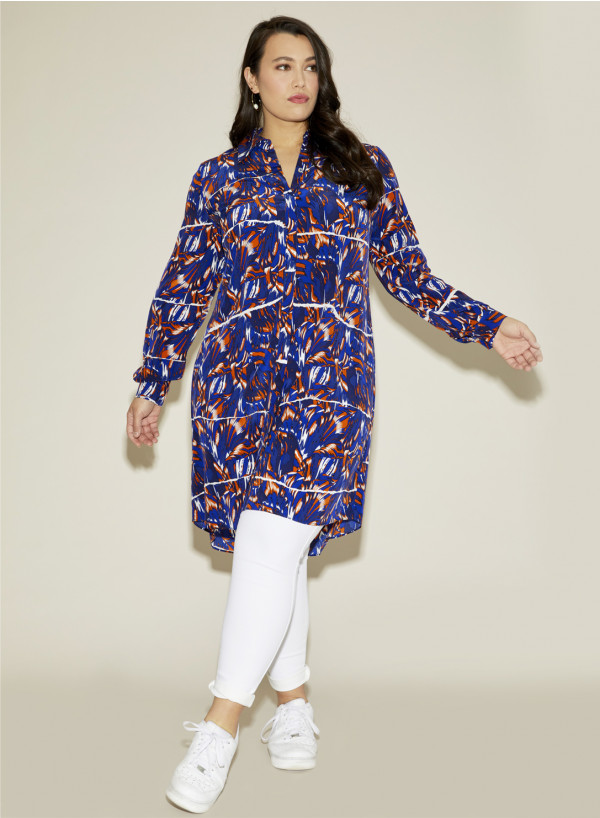 Silk Plus Size Shirt Dress Wings Prin