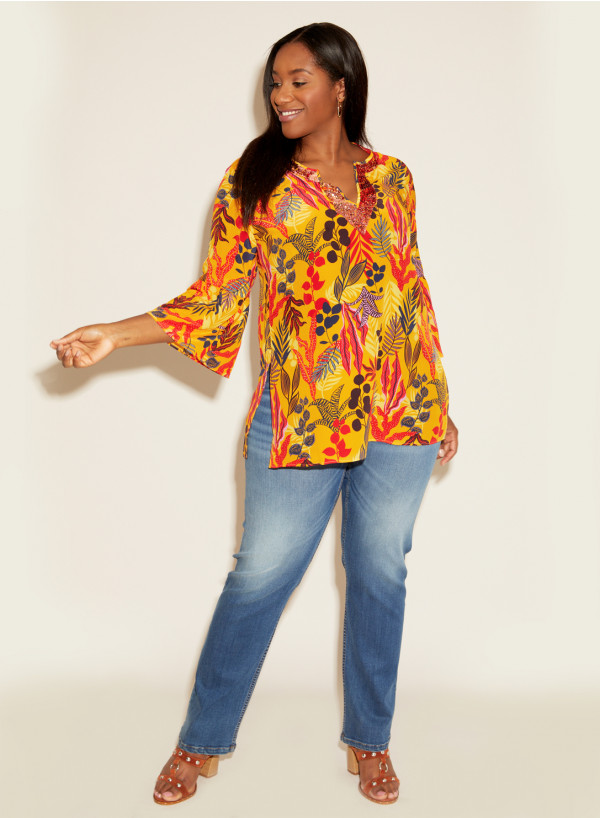 Silk Sequin Kaftan Tropical Print