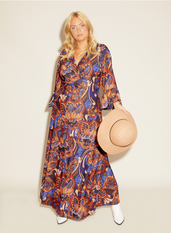 Crepe Jersey Maxi Wrap Dress Frill Sleeve
