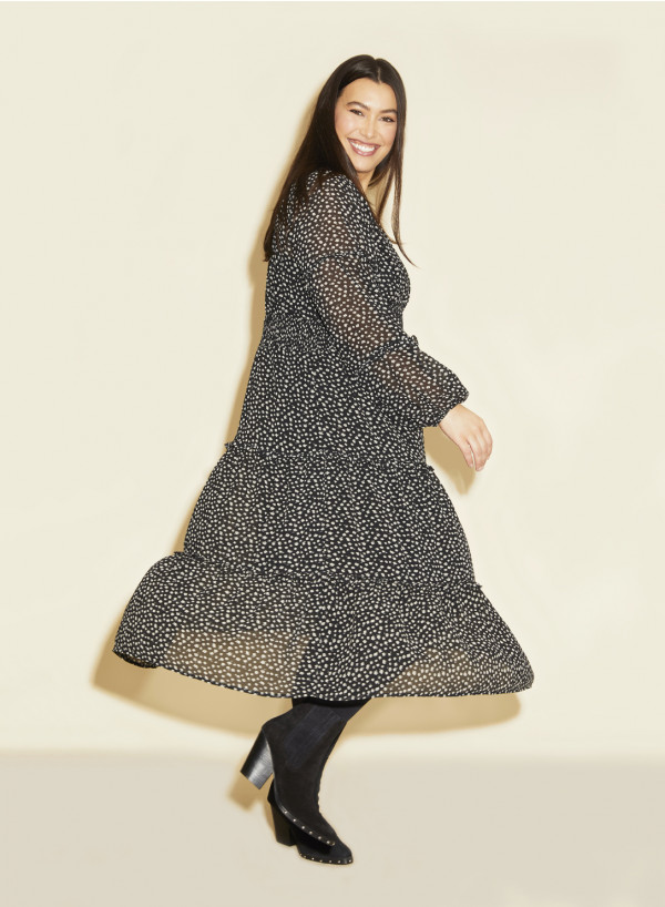 Frill V Neck Dress Print