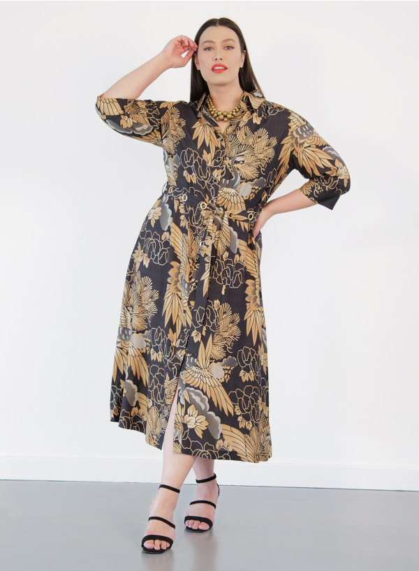 Silk Shirt Dress with Eyelet Belt
