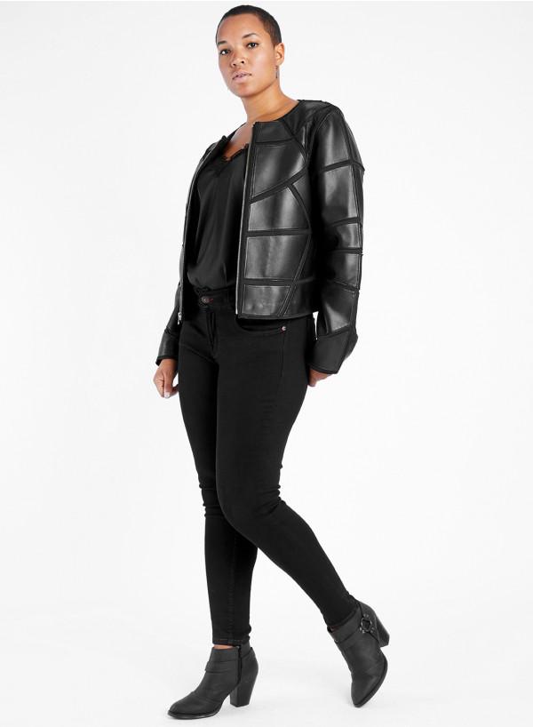 Leather Applique Jacket