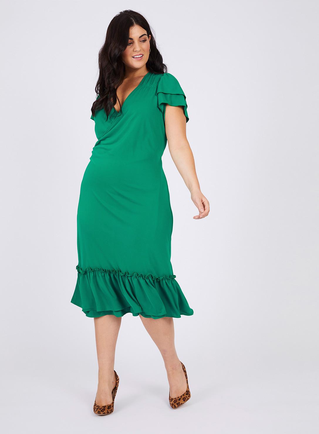 936d2888e51 Anna Scholz Plus Size Crepe frill wrap dress