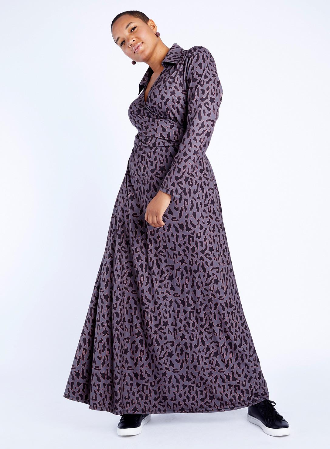 70s Maxi Wrap Dress Printed