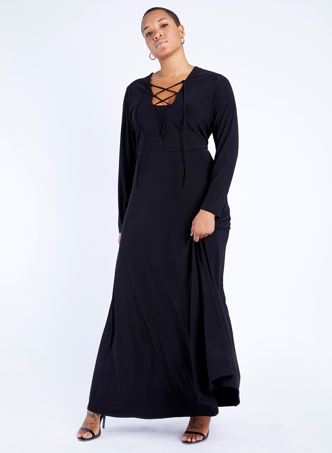 18f13cf438a Anna Scholz Plus Size Jersey Lace-Up Maxi Dress