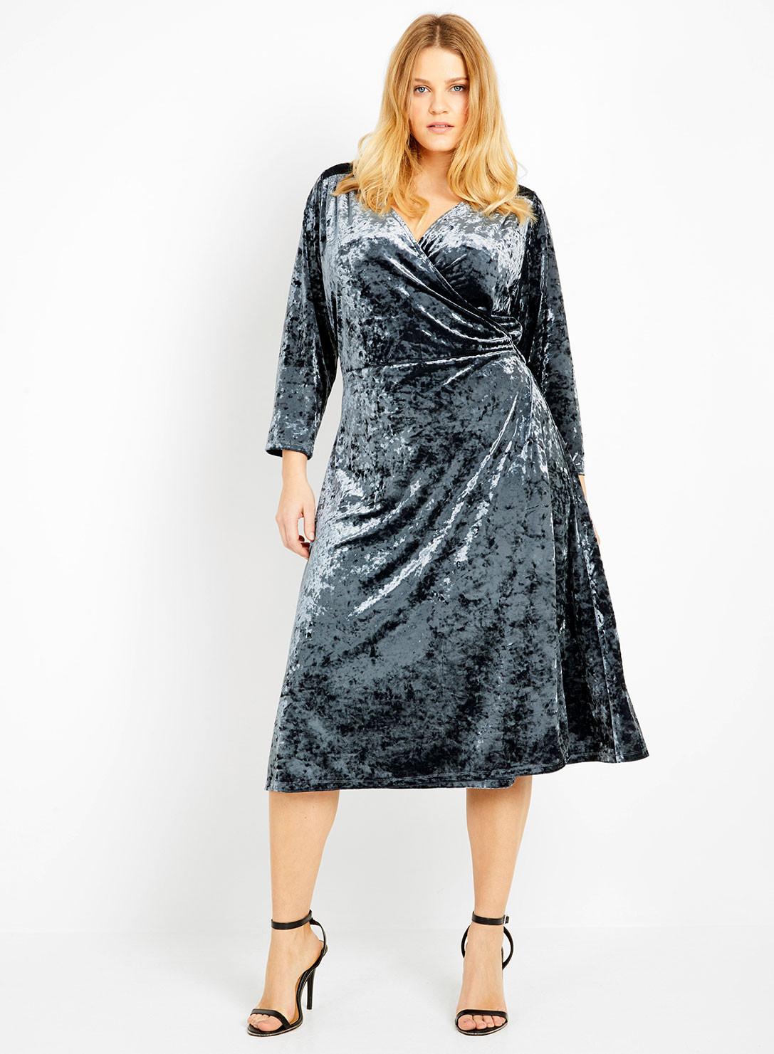 Anna Scholz Plus Size Crepe Jersey Vintage Wrap Dress Velvet