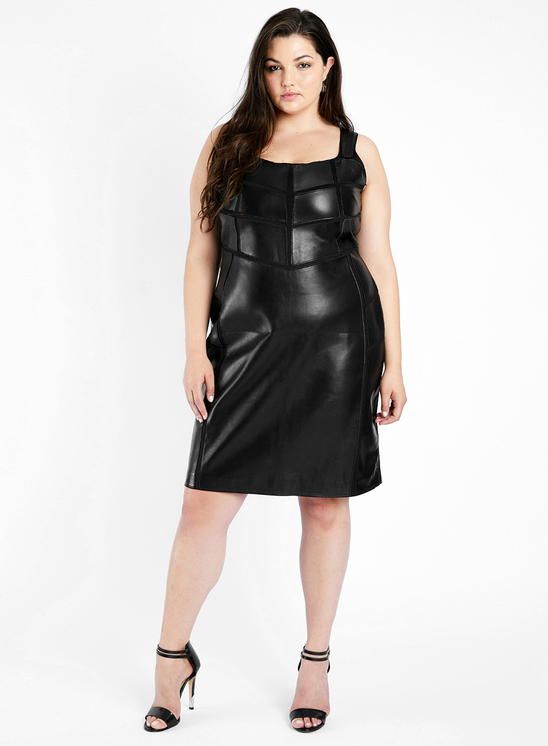 Anna Scholz Plus Size Leather Applique Dress