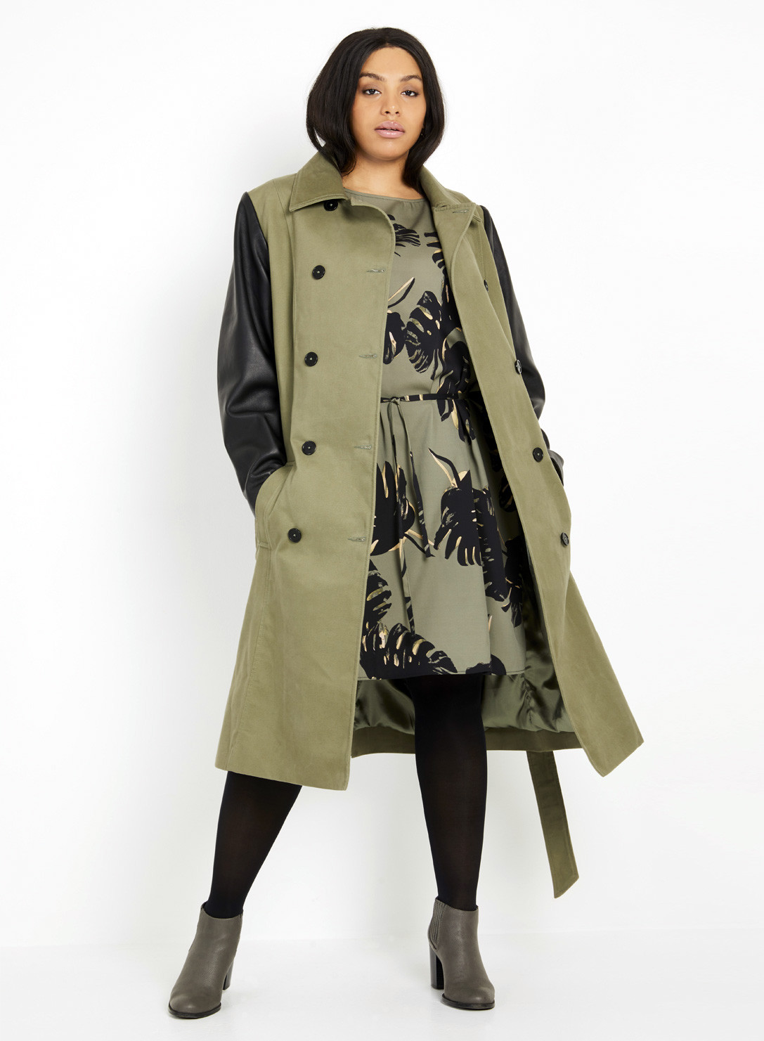 b6b2775a96e Anna Scholz Plus Size Trenchcoat with Leather Sleeves
