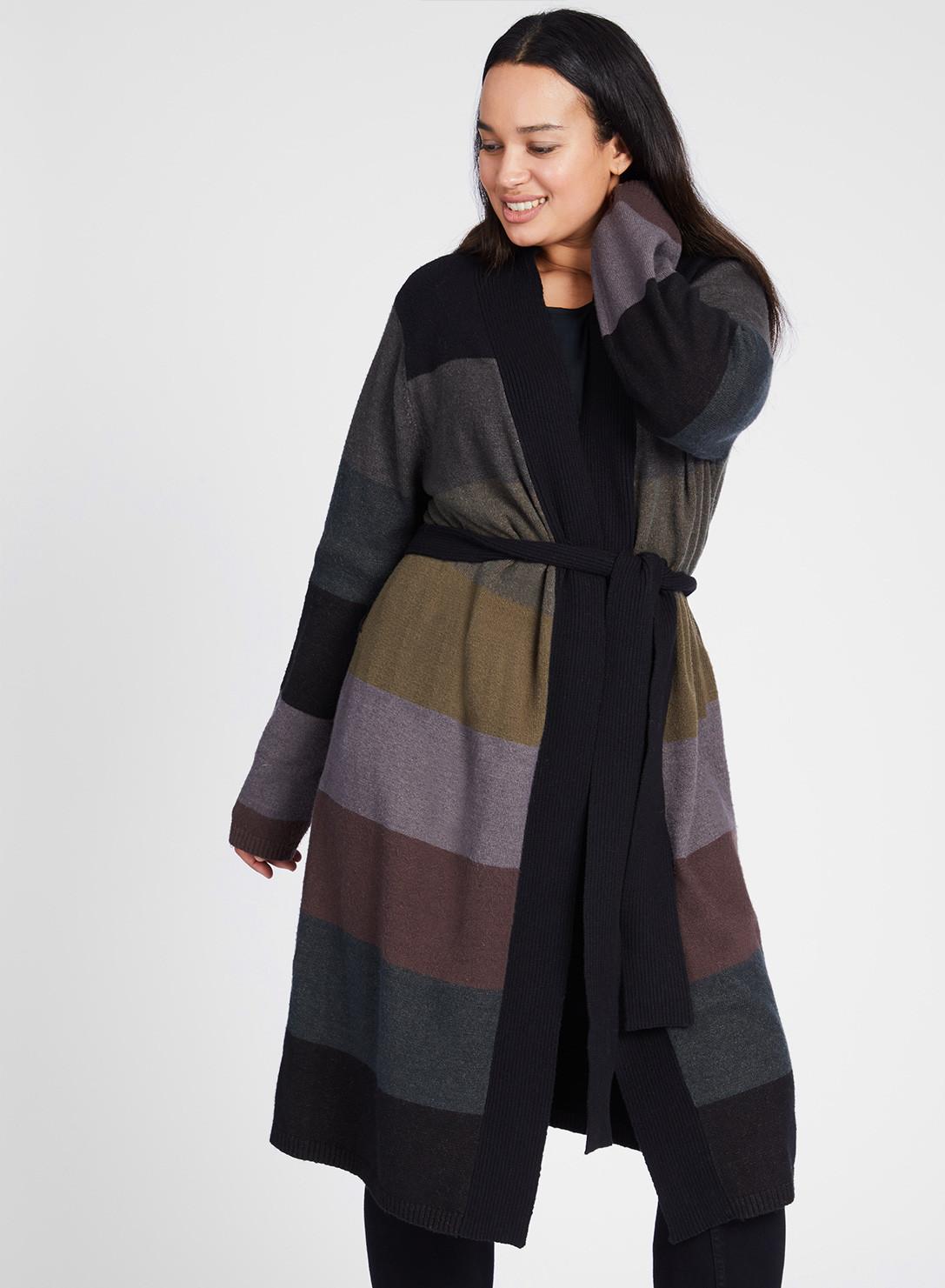 a238a497a32 Anna Scholz Plus Size Long Stripe Cardigan