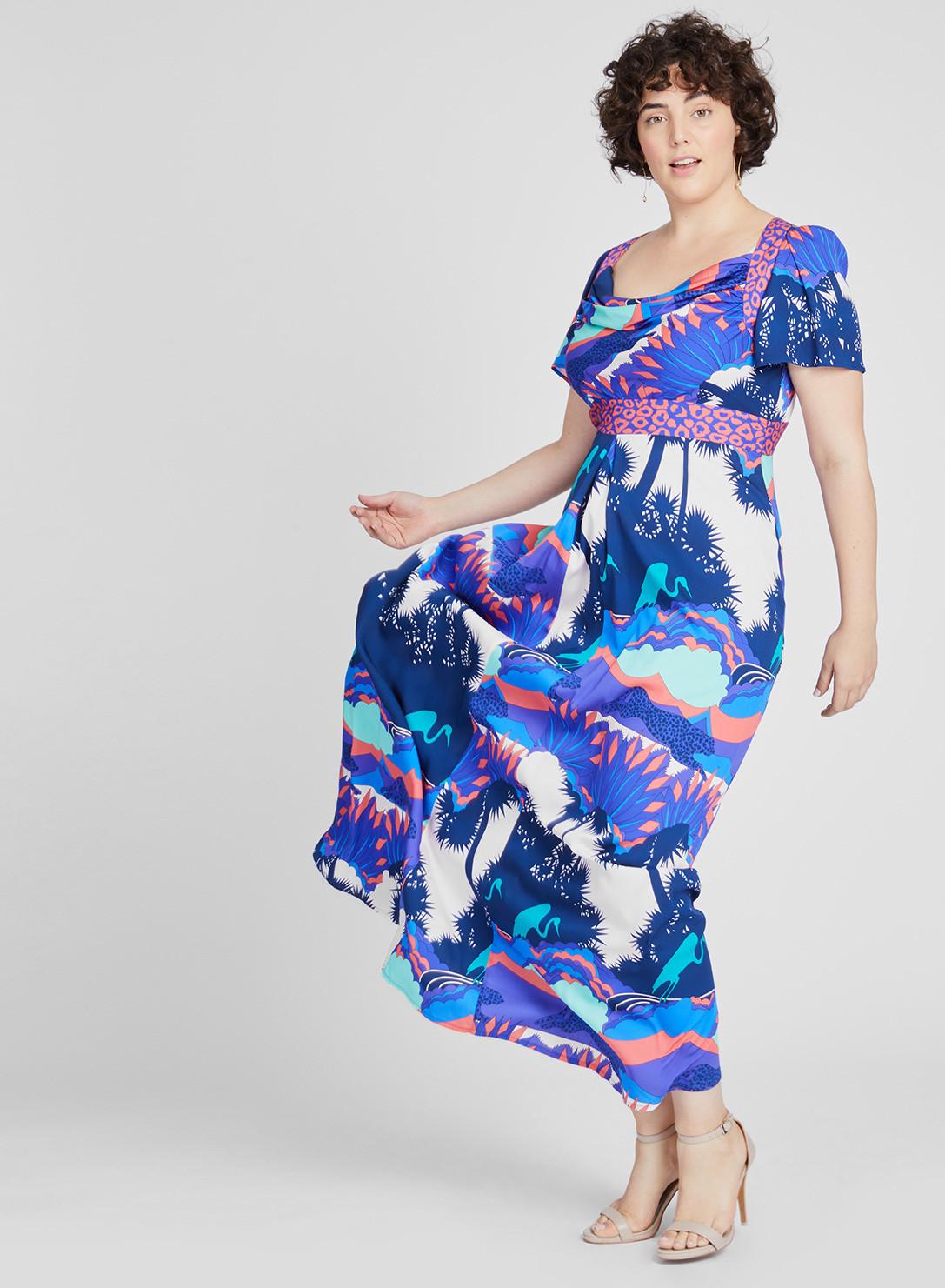 66a465bf3e4 Anna Scholz Plus SizeDouble Silk Maxi Cowl Dress