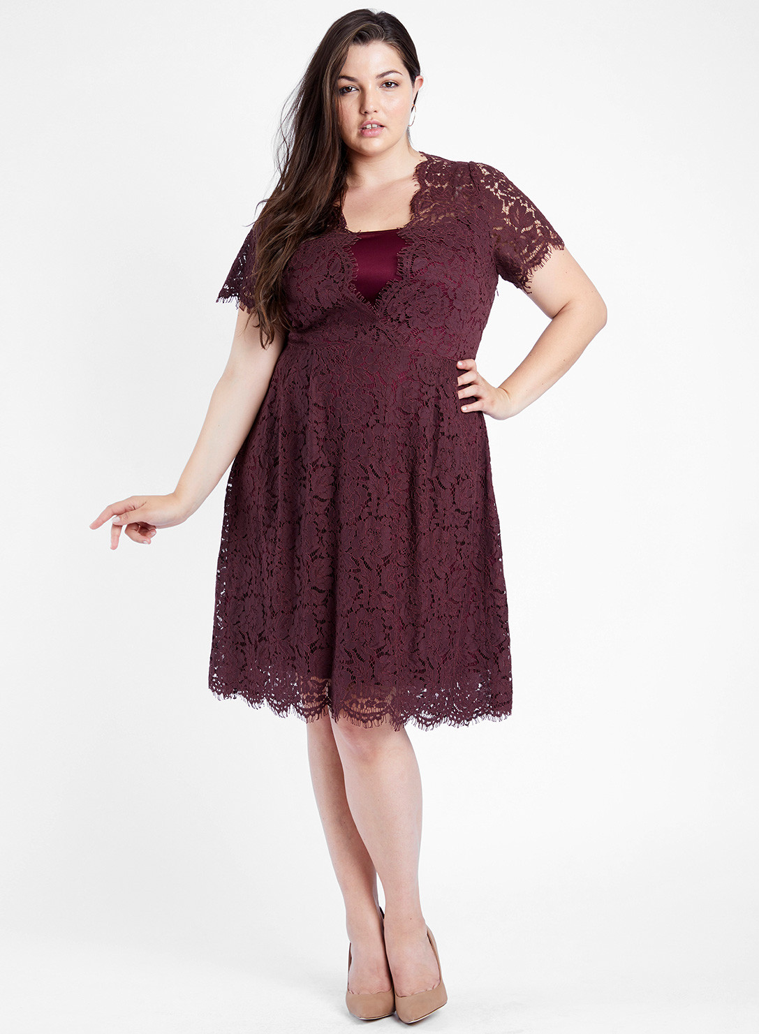 ca399ad48c37e Anna Scholz Plus Size Lace Swing Dress
