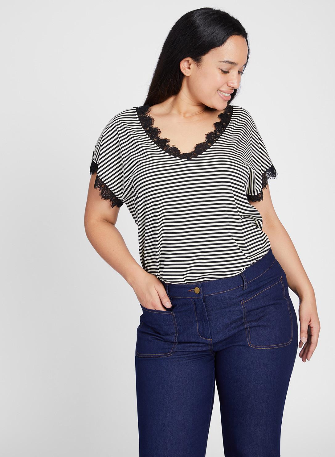 b8fd89442daff8 Anna Scholz Plus Size Lace Trim T Shirt