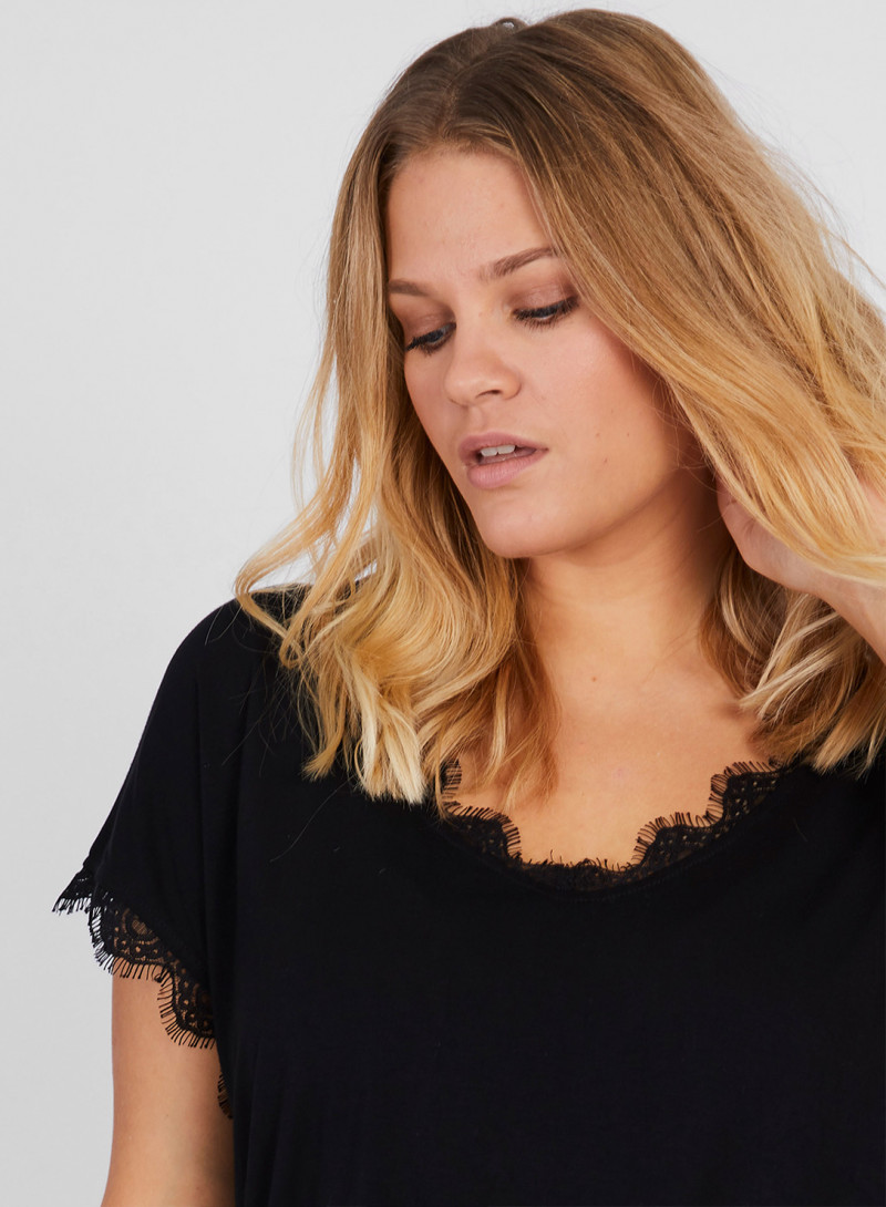 0ea1663f75f LACE TRIM T-SHIRT.  65.99 · Wrap Top - Plus Size Clothing