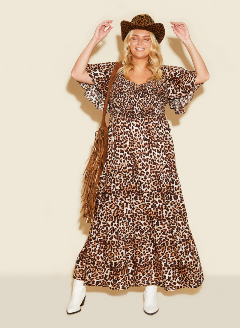 Vintage ANNA SCHOLZ BlackGray Animal Print Jersey Dress American Plus Size 22W UK 26
